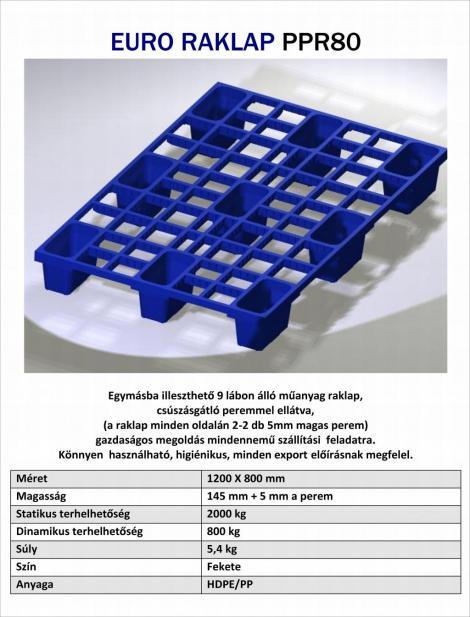 EUR műanyag raklap PPR80